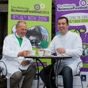 2 scientists having cuppa