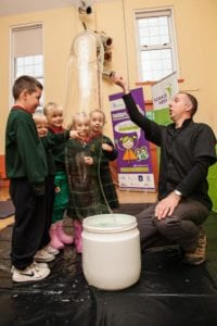 Bubbles Steve Allman and pupils from Scoil Mhuire in Tullamore Co Offaly