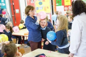 Ben Doran is helped by Mary Delaney experiments with static electricity experiments at St. Joseph's NS in Borris-In-Ossory as part of Midlands Science Festival. Picture: Jeff Harvey/HR Photo